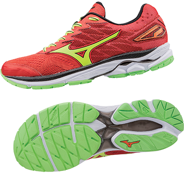 MizunoWave Rider 20 Red/Yellow/Green